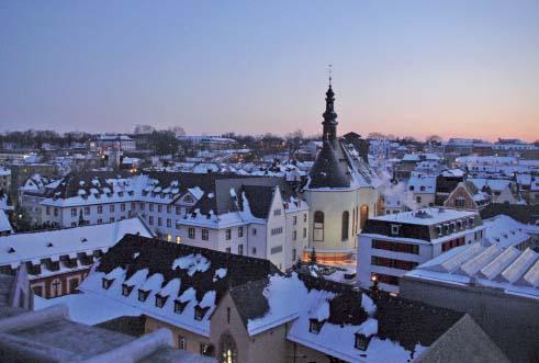 Abendlicher Blick über die Altstadt von Mainz