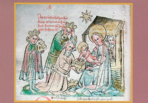 Der Stern von Bethlehem fürht die heiligen drei Könige zur Krippe