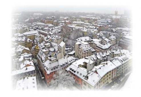 Die Mainzer Altstadt an einem Wintermorgen vom Dom aus gesehen