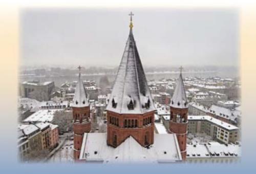 Blick über die Osttürme des Mainzer Doms auf den Rhein