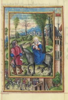 Die Heilige Familie auf der Flucht vor König Herodes nach Ägypten