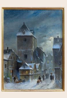 Der Mainzer Eisenturm im Schnee