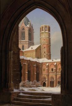 Verschneiter Kreuzgang mit Blick zu den Osttürmen des Mainzer Doms